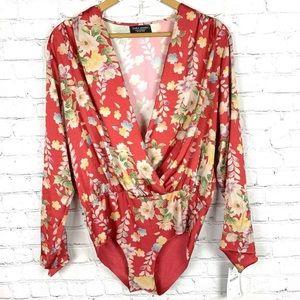 ZARA Red Floral Bodysuit L NWT
